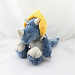 Doudou dinosaure bleu gris jaune NICI