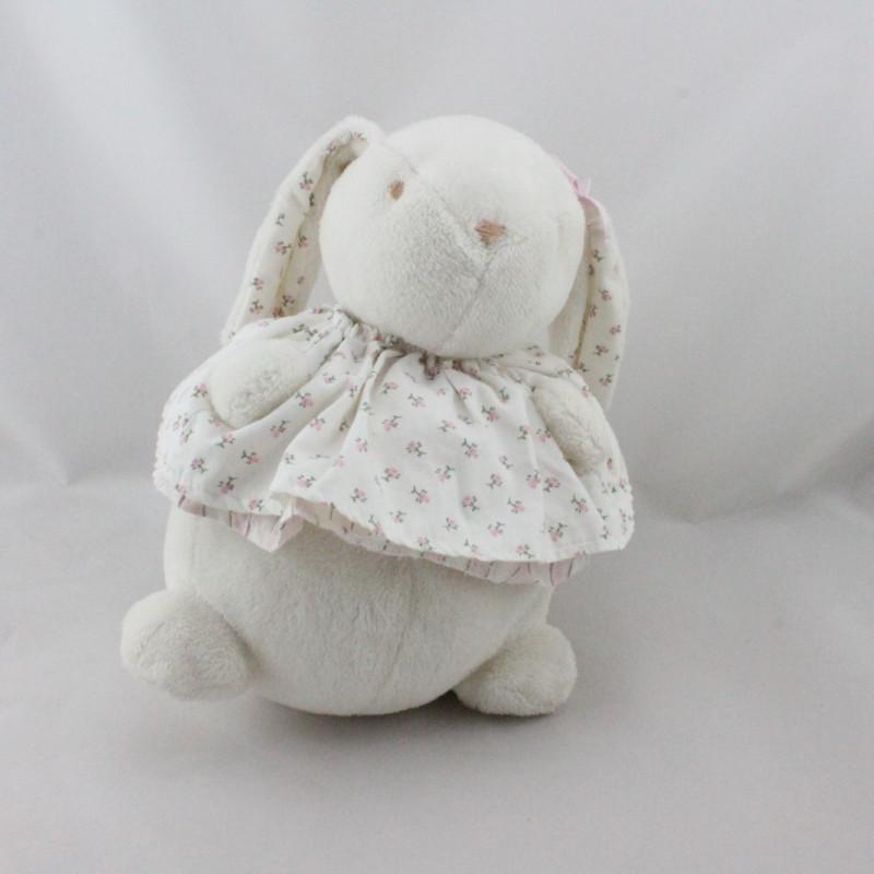 Doudou boule lapin blanc rose fleurs  JACADI