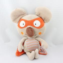 Doudou le koala masqué beige orange bleu cape DPAM