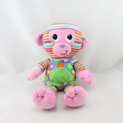 Doudou singe rose bleu vert orange motifs MARY MEYER