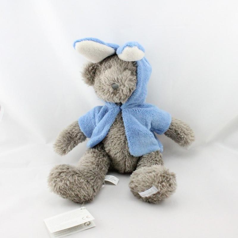 Peluche ours marron veste lapin bleu PASITO