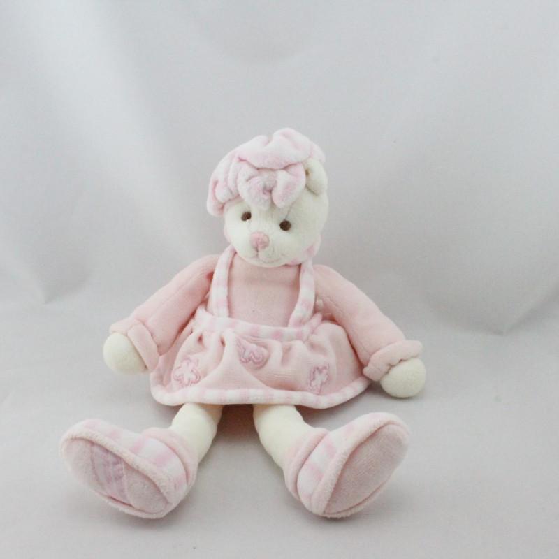 Doudou ours rose fleurs BUKOWSKI