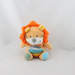 Doudou lion orange bleu vert jaune rayé TEX