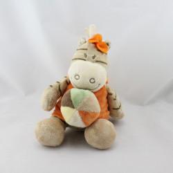 Doudou musical zébre Zamba beige orange balle NOUKIE'S