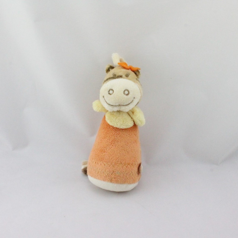 Doudou hochet pouet zébre Zamba beige orange NOUKIE'S