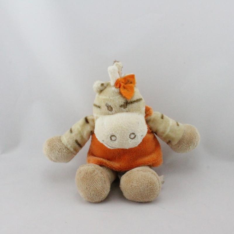 Doudou zébre Zamba beige orange NOUKIE'S