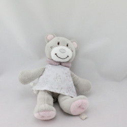 Doudou musical ours gris rose prune robe blanche NOUKIE'S