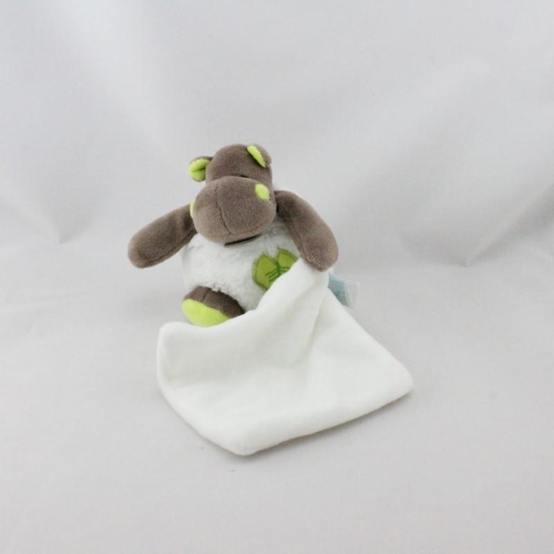 Doudou Hippopotame marron blanc vert Bazile l'hippo mouchoir BABY NAT