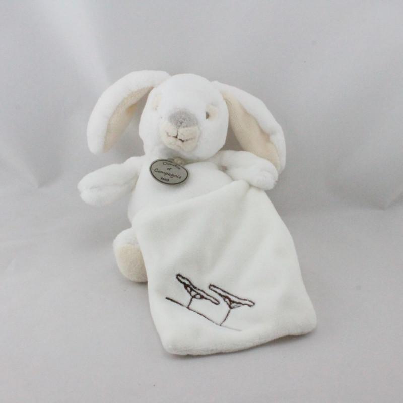 Doudou et compagnie lapin blanc beige mouchoir arbres Nature