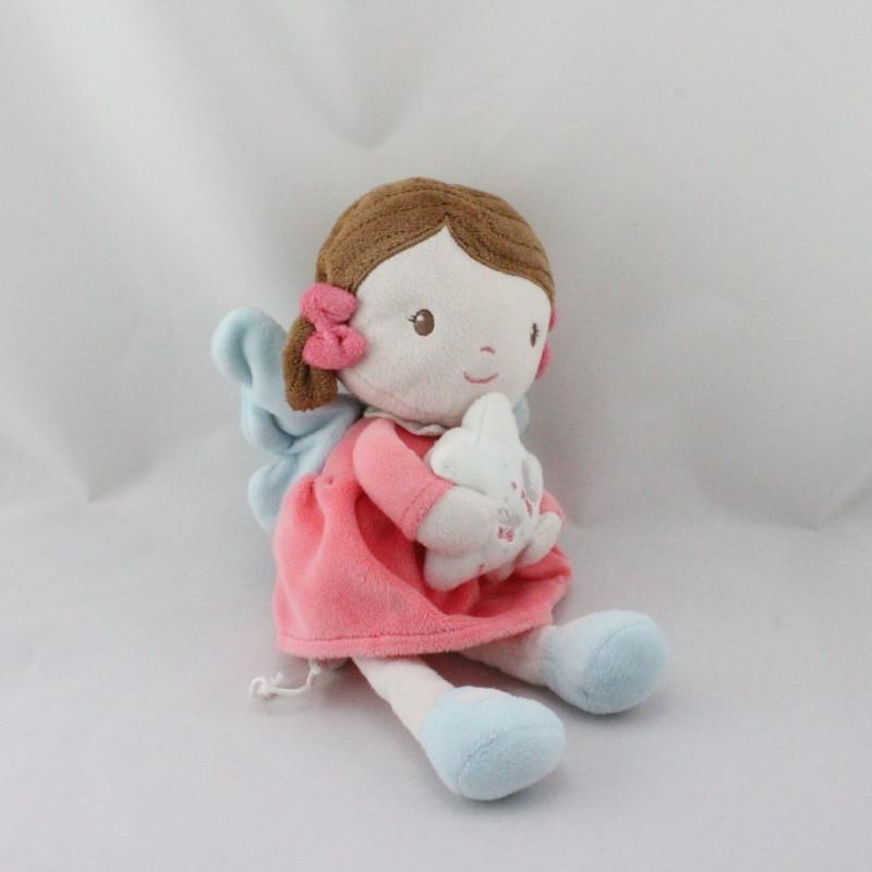 Doudou musical poupéé rose bleu papillon TEX BABY