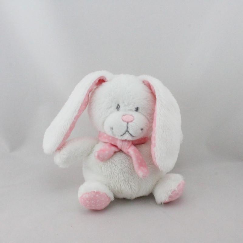 Doudou lapin blanc rose pois TEX BABY