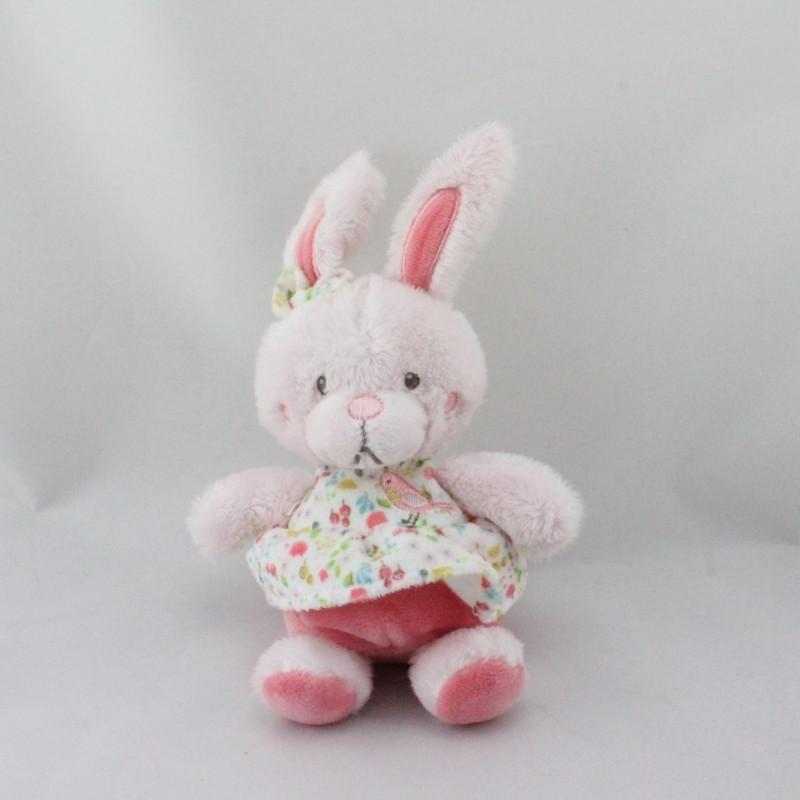 Doudou lapin rose fleurs oiseau TEX BABY