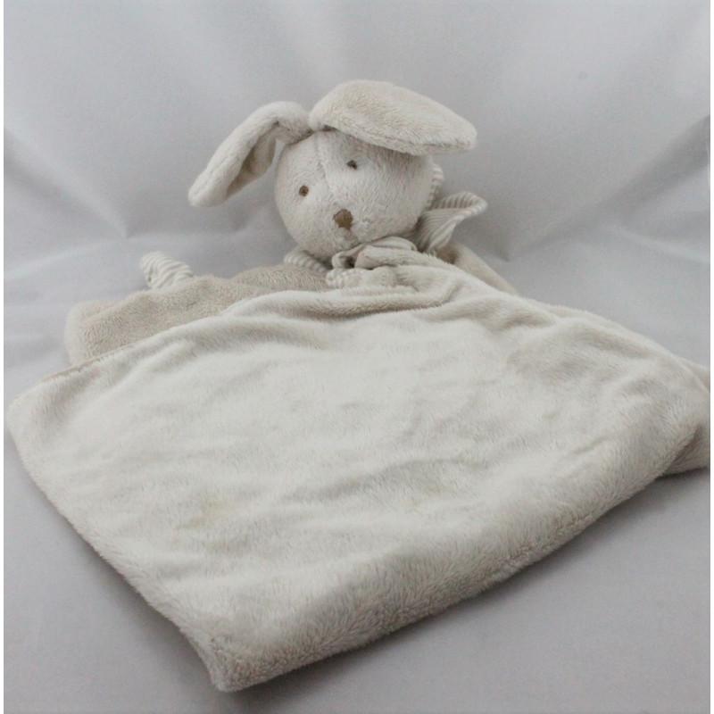 Grand Doudou plat couverture lapin beige rayé coeur