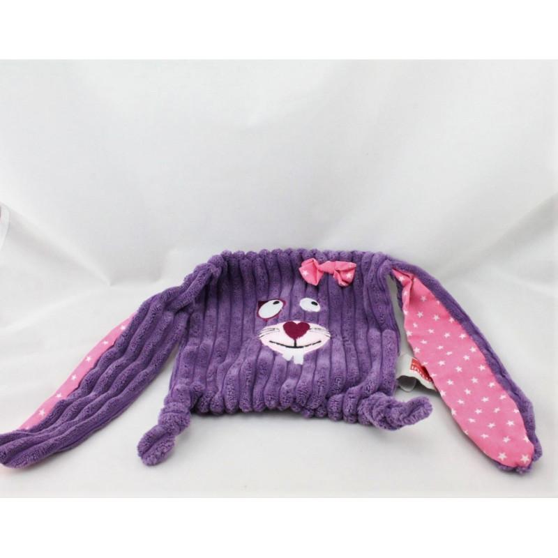Doudou plat lapin violet rose étoiles velours INFLUX