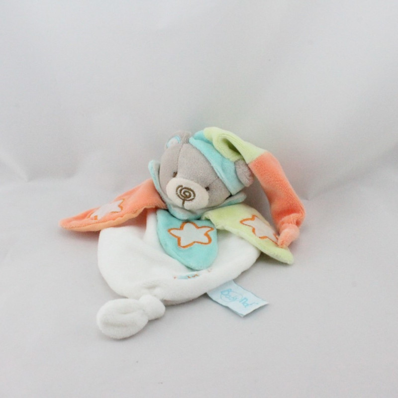 Doudou plat ours blanc orange vert bleu luminescent BABY NAT