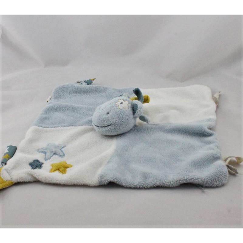Doudou plat ane cheval bleu blanc jaune Victor et Lucien NOUKIE'S