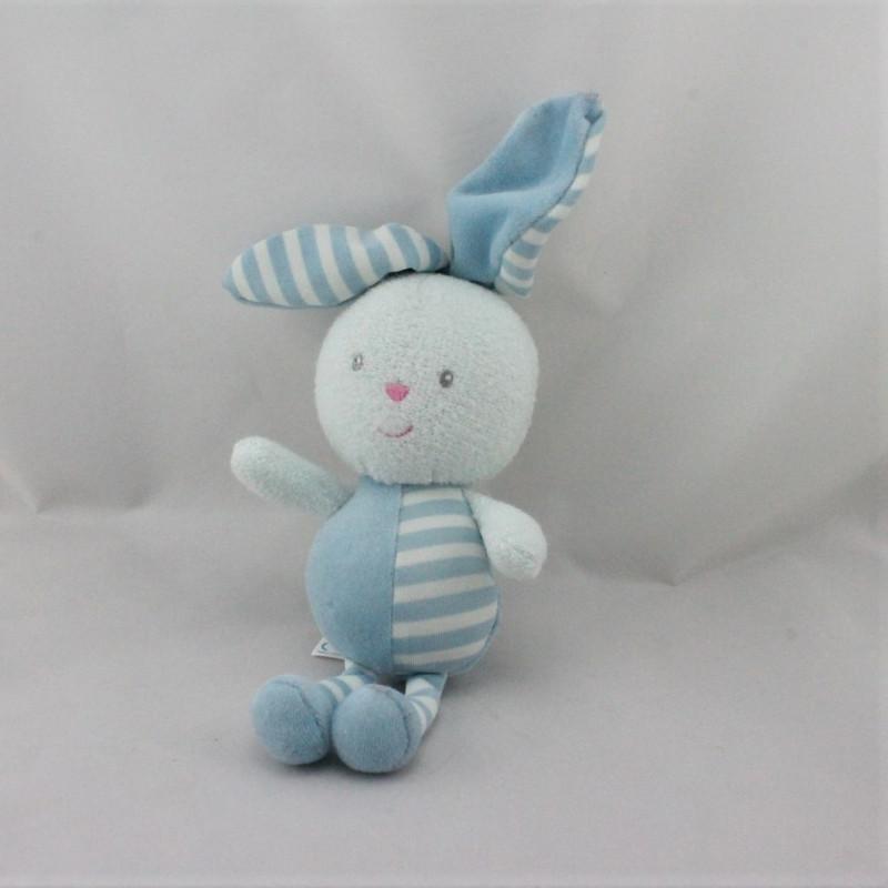 Doudou lapin bleu rayé luminou JEMINI
