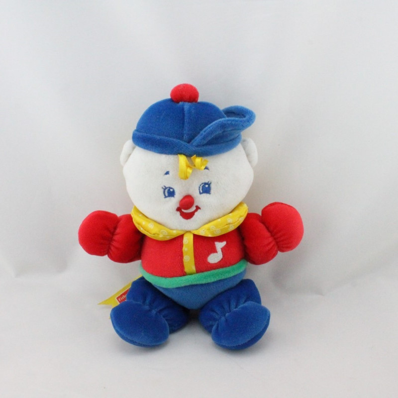 Doudou musical clown rouge bleu jaune vert FISHER PRICE 1998