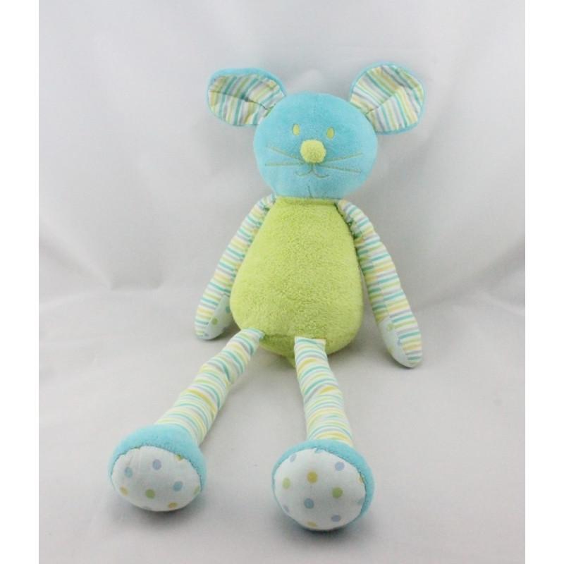 Doudou souris bleu vert rayé pois MAXITA