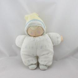 Doudou bébé poupée chiffon blanc bleu jaune rayé plage COROLLE