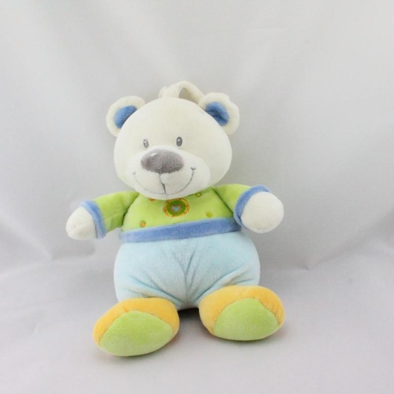 Doudou musical ours bleu vert jaune coeur NICOTOY