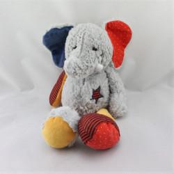 Doudou éléphant gris rouge jaune bleu étoile TAPE A L'OEIL