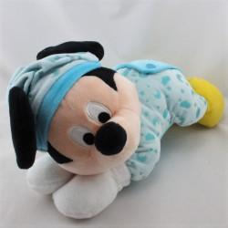Doudou Mickey bleu jaune nuages lunes phosphorescent DISNEY