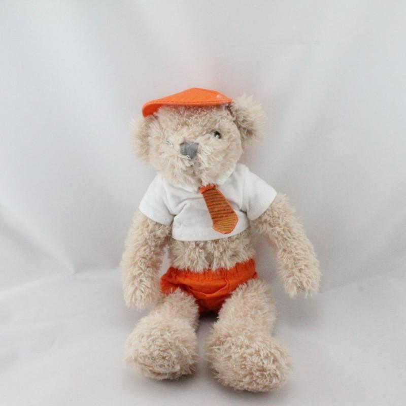 Doudou ours beige orange blanc Oscar J-LINE