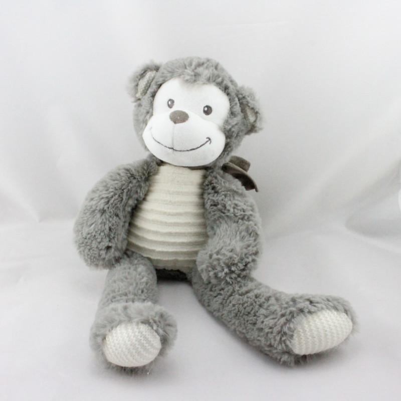 Doudou singe gris blanc TEX