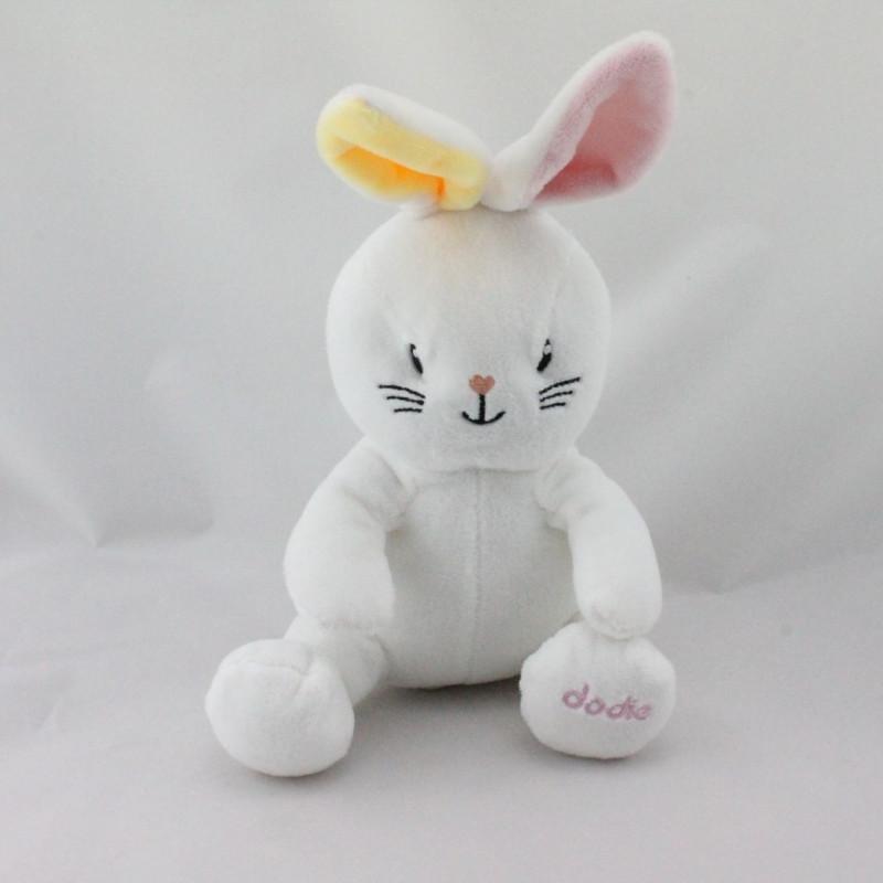 Doudou lapin blanc jaune rose DODIE