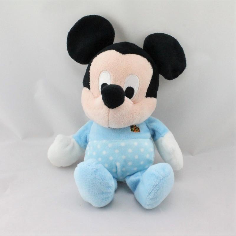 Doudou Mickey bleu pois coccinelle DISNEY