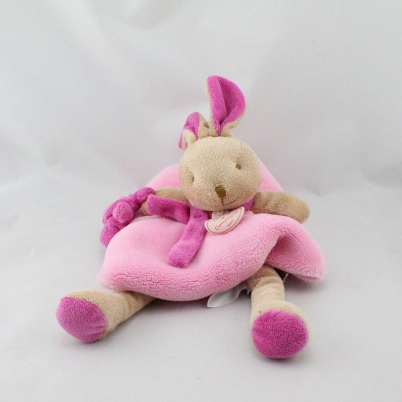 Doudou et compagnie plat lapin rose marron avec ours