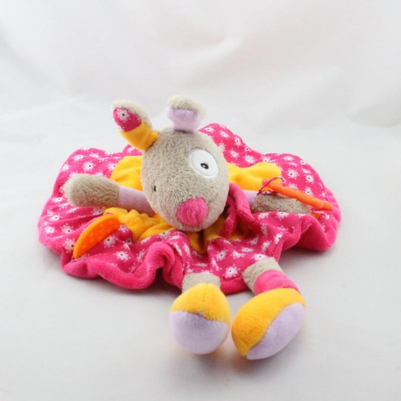 Doudou plat rond lapin beige rose orange fleurs hochet BABYSUN