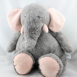 Grand Doudou Peluche éléphant gris rose AJENA