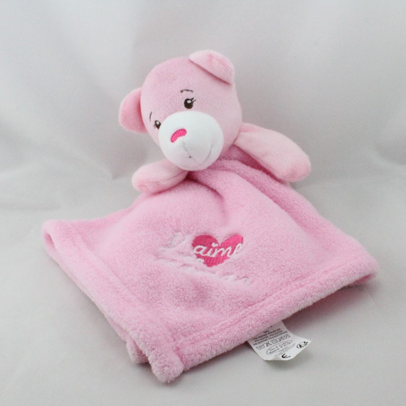 Doudou plat ours rose j'aime ma maman TOM & KIDDY TOMKIDS