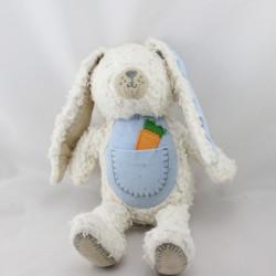 Doudou lapin blanc bleu carotte NATURE ET DECOUVERTES