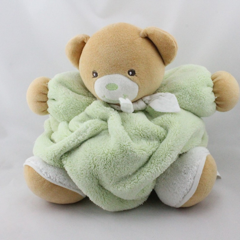 Doudou ours plume beige vert blanc KALOO