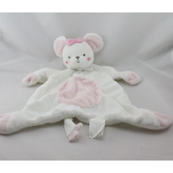 Doudou plat souris blanche rose KIMBALOO