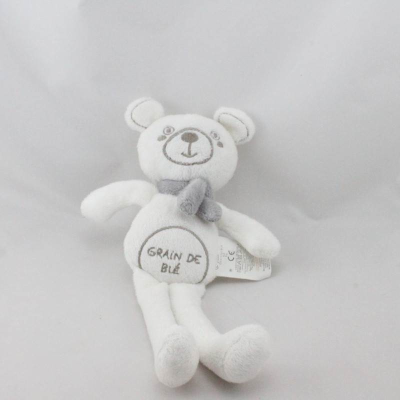 Doudou ours blanc gris GRAIN DE BLE