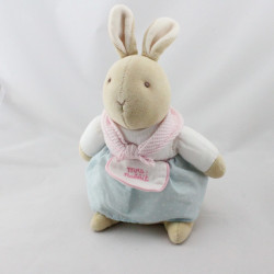 Doudou lapin beige rose bleu tablier Mrs Rabbit EDEN