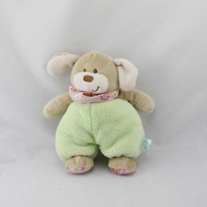 Doudou chien vert rose fleurs PLANET PLUCH