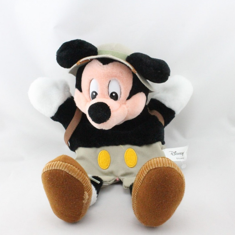 Doudou peluche marionnette Mickey explorateur DISNEYLAND