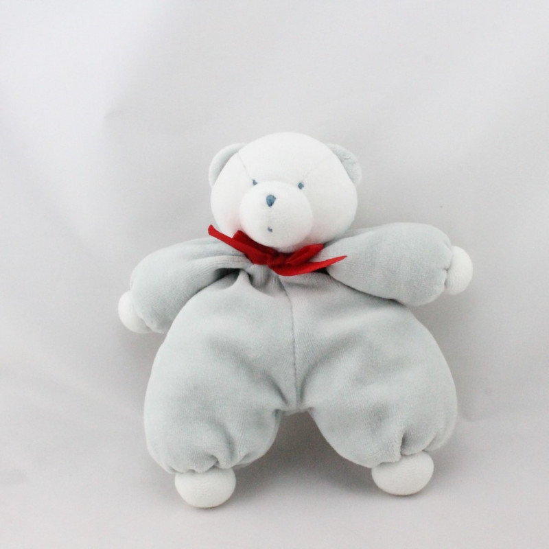 Doudou ours blanc gris rouge ETAM