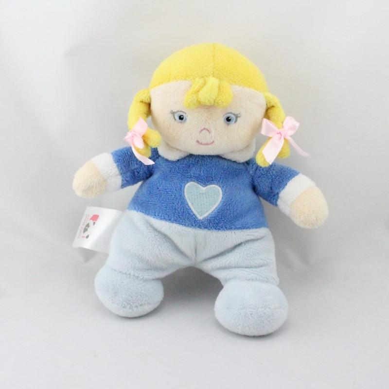 Doudou poupée blonde pyjama bleu coeur ARTESAVI