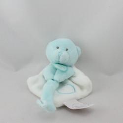 Doudou et compagnie plat ours bleu blanc attache tétine