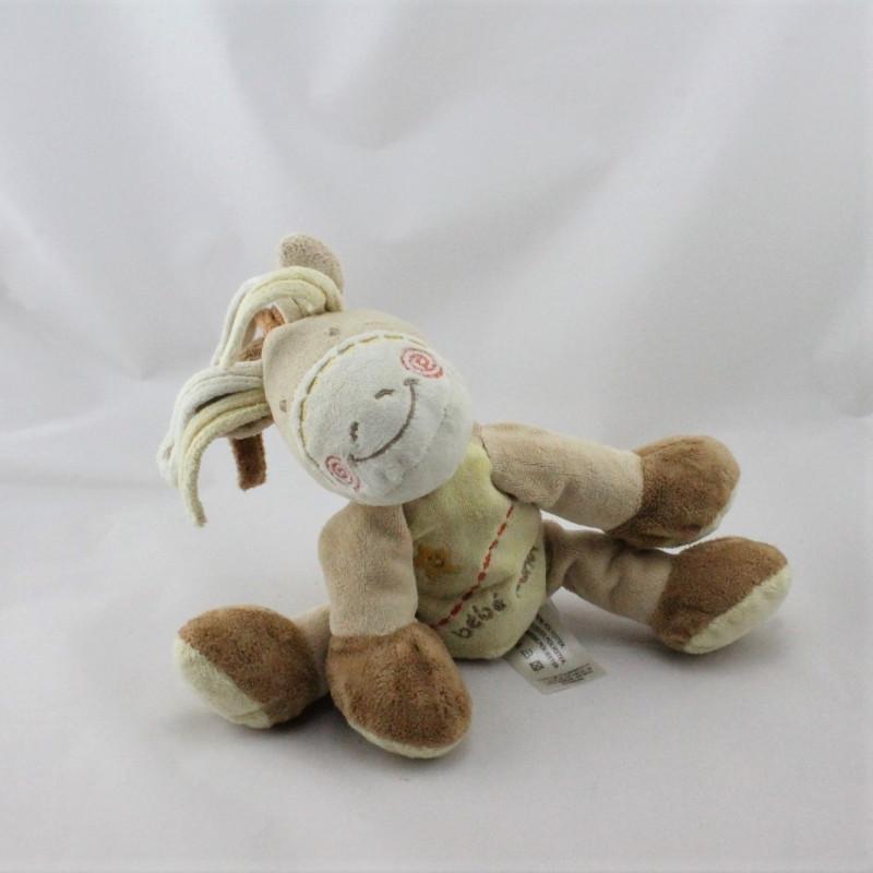 Doudou Bébé poney beige jaune marron étoile KIABI