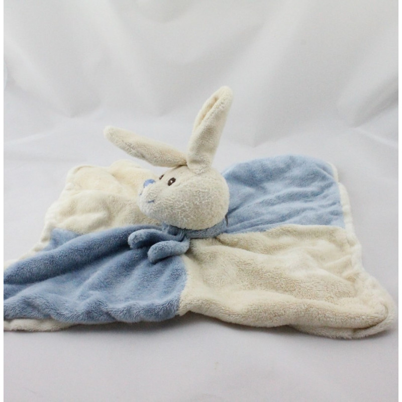 Doudou plat lapin blanc bleu BUKOWSKI