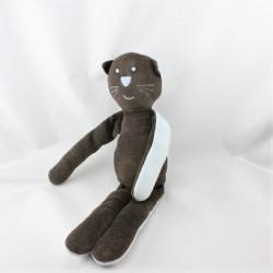 Doudou chat marron bleu BOUT'CHOU BOUTCHOU