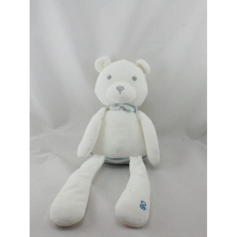 Doudou ours blanc bleu gris rayé OBAIBI