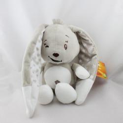 Doudou lapin beige blanc coeurs AUCHAN BABY